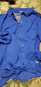 Candies cobalt blue tie blouse L